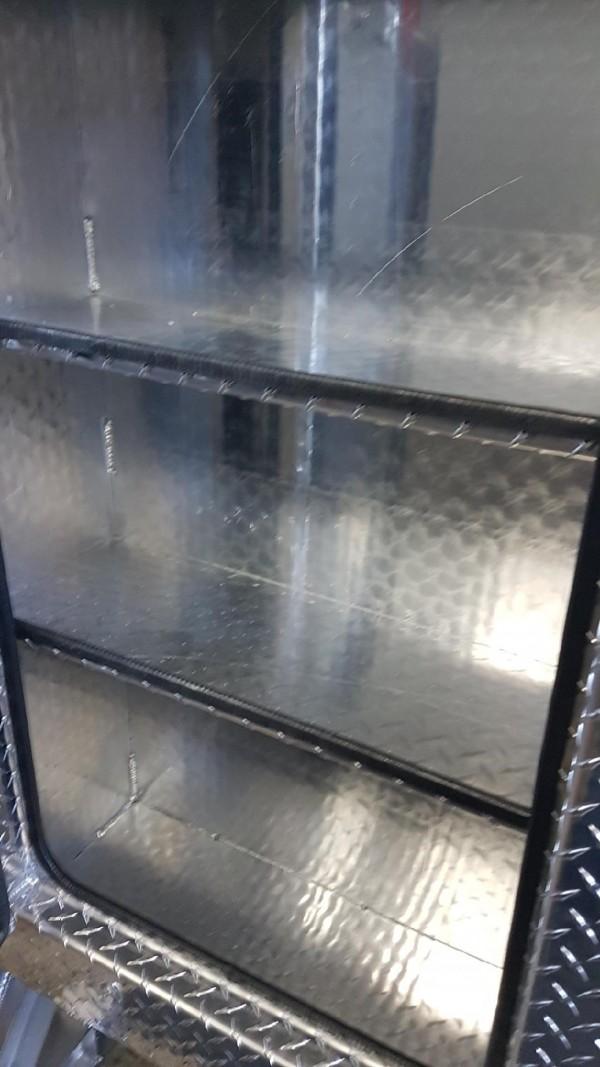 3 door checkerplate headache rack with cam locks